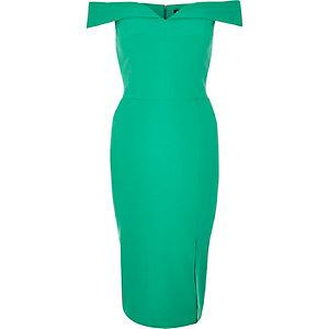Bright green bardot midi dress