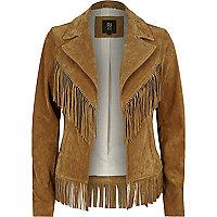Tan brown suede fringed Western jacket