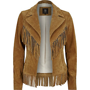 Tan brown suede fringed Western jacket