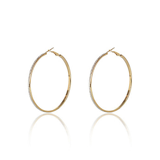 Gold tone glittery skinny hoop earrings