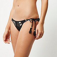 RI Resort black sequin bikini bottoms