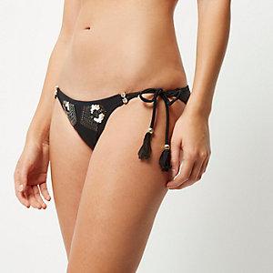 RI Resort black sequin bikini bottoms