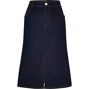 Dark blue denim midi skirt