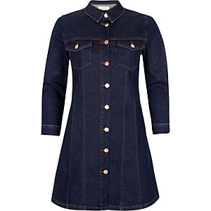 Dark blue button-up denim dress