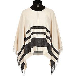 Beige stripe zip-up blanket cape