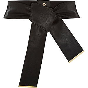 Black wide knotted obi waist belt