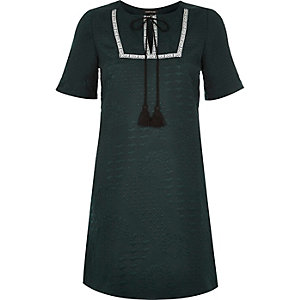 Green tassel jacquard swing dress