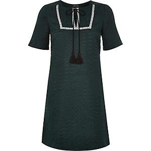 Green tassel jacquard swing dress