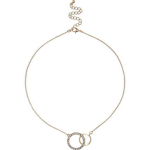 Gold tone double circle necklace