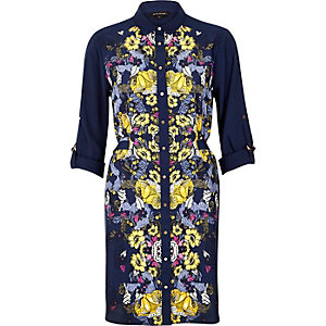 Blue floral print shirt dress