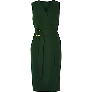 Dark green D-ring belted wrap dress