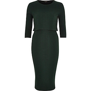 Dark green layered midi dress