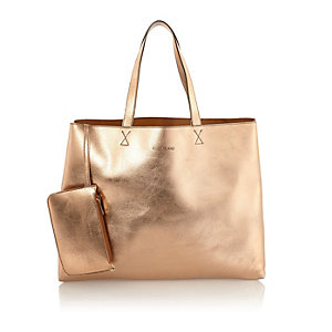 Rose gold metallic reversible pouch beach bag