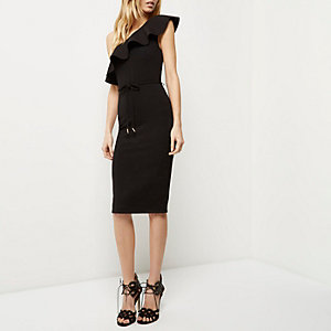 Black ruffle asymmetric bodycon dress