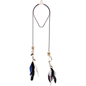 Navy long feather necklace