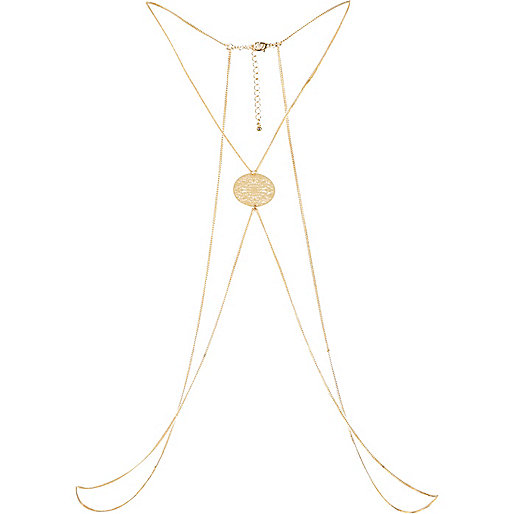 Gold tone filigree chain body harness