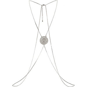 Silver tone medallion body harness
