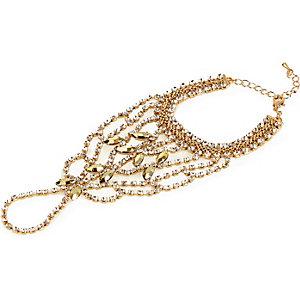 Gold tone embellished hand harness