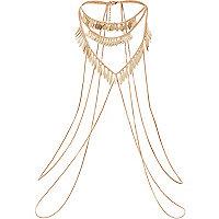 Gold tone shard detail body harness