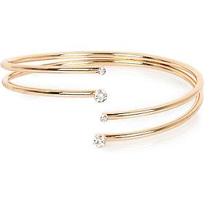 Gold tone embellished arm cuff