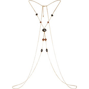 Gold tone semi precious body harness
