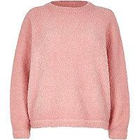 Pink fluffy wool-blend sweater