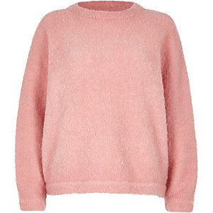 Pink fluffy wool-blend sweater