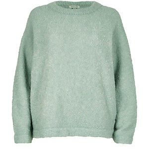 Light green fluffy wool-blend sweater