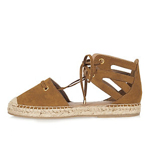 Light brown tie-up espadrille sandals