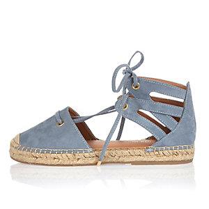 Blue tie-up espadrille sandals