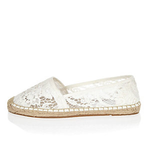 White lace espadrille shoes