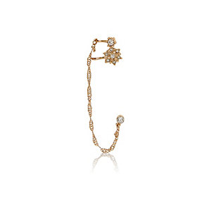 Gold tone embellished ear cuff