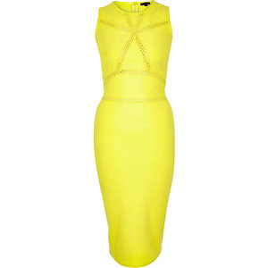 Lime cut-out detail bodycon dress