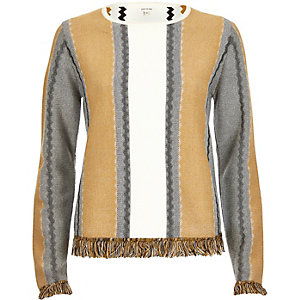 Tan stripe fringed sweater