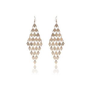 Gold tone embellished dangly earrings