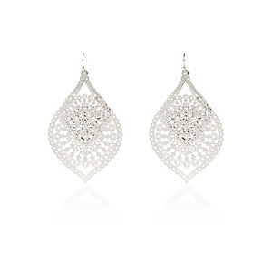 Silver tone filigree dangle earrings
