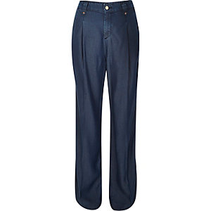 Blue tencel denim wide leg pants