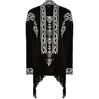 Black knitted draped tassel cardigan
