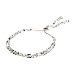 Silver tone embellished lariat bracelet