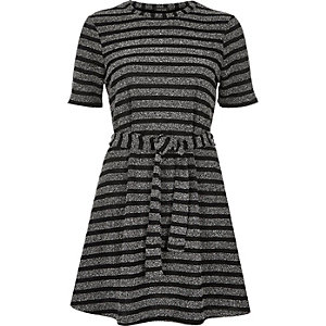Grey stripe belted swing dress