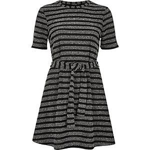 Grey stripe belted swing dress