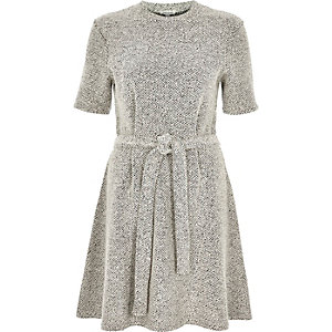 Cream bouclé swing dress