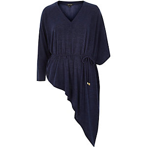 Dark blue knit asymmetric top