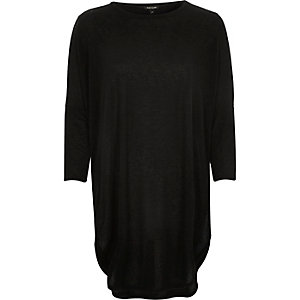Black knit longline circle t-shirt