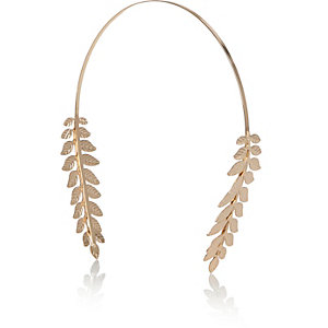 Gold tone leaf detail hairband