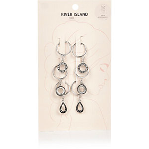 Silver tone dangle hair charms pack