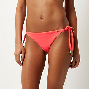 RI Resort right pink tie side bikini bottoms