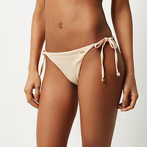 RI Resort beige tie side bikini bottoms