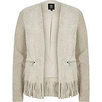 Grey suede fringed jacket