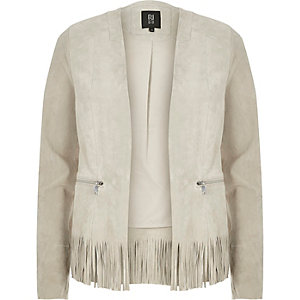 Grey suede fringed jacket